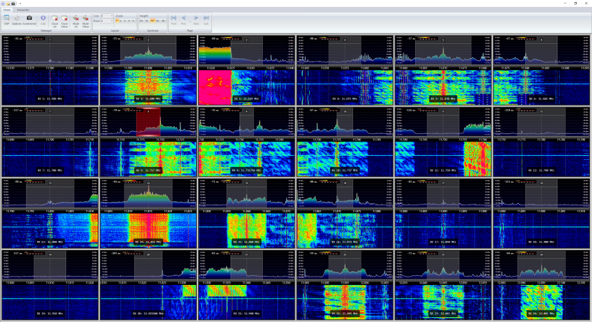 24 virtual channels in sizeable windows of 24 kHz width each - also zoomable.